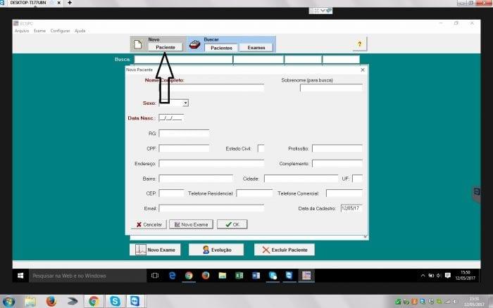 Cadastrando o paciente no software da teb