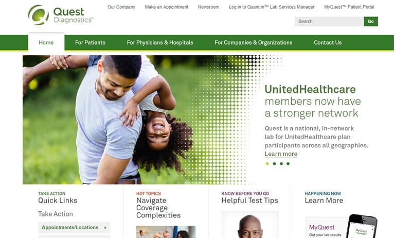 Site de medicina Quest Diagnostics