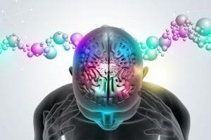 imagem em desenho da cabeça com atividade cerebral